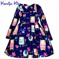 Kseniya Çocuklar Çocuklar Için Yeni Tasarımcı Kış Elbiseler Uzun Kollu karikatür Kız Mavi Elbise Küçük Kızlar Prenses Balo 2-10 yıl