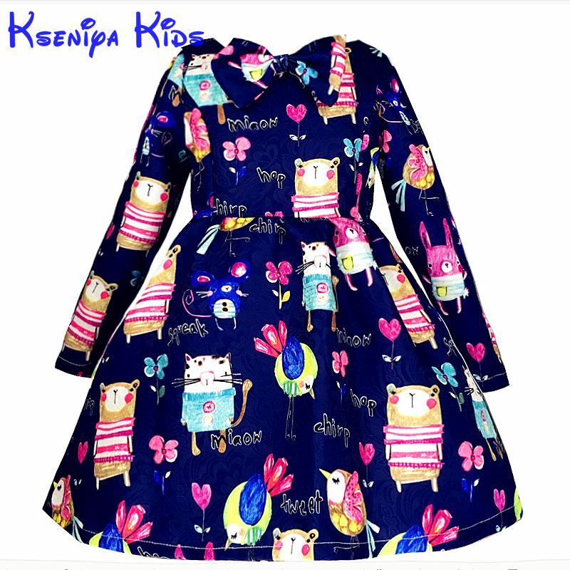 Kseniya Kids New Designer Winter Dresses For Kids Long Sleeve Cartoon Girl Blue Dress Little Girls