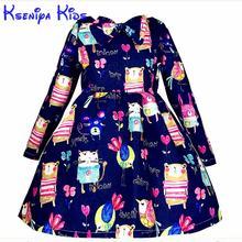 Kseniya Enfants Nouveau Designer Robes D'hiver Pour Enfants À Manches Longues Fille de bande dessinée Bleu Robe Petites Filles Princesse robe de Bal 2-10 ans