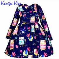 Kseniya Kinder Neue Designer Winter Kleider Für Kinder Langarm Cartoon Mädchen Blau Kleid Kleine Mädchen Prinzessin Ballkleid 2-10 jahre