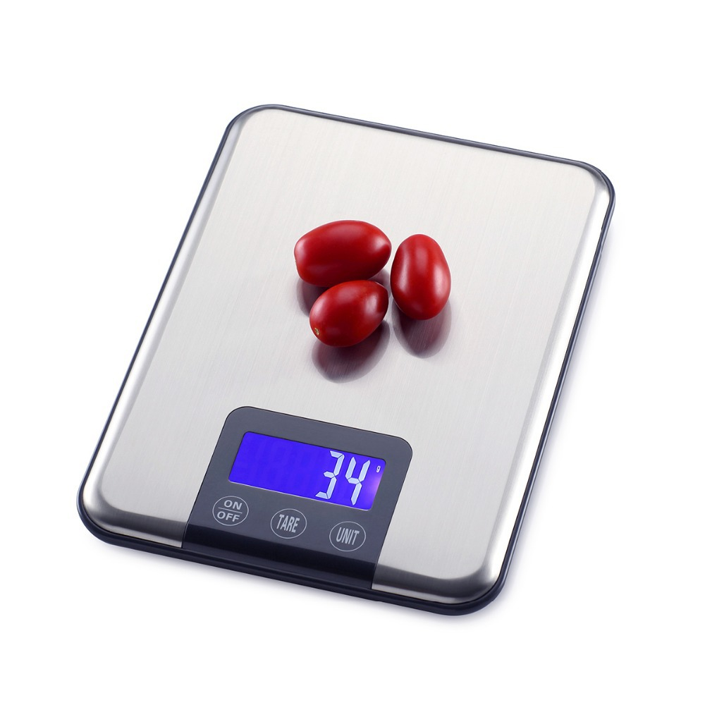 15KG * 1g Grande bilancia digitale da cucina 15kg 1g Sottile bilance elettroniche da banco in acciaio inossidabile Bilance dietetiche per alimenti con scatola