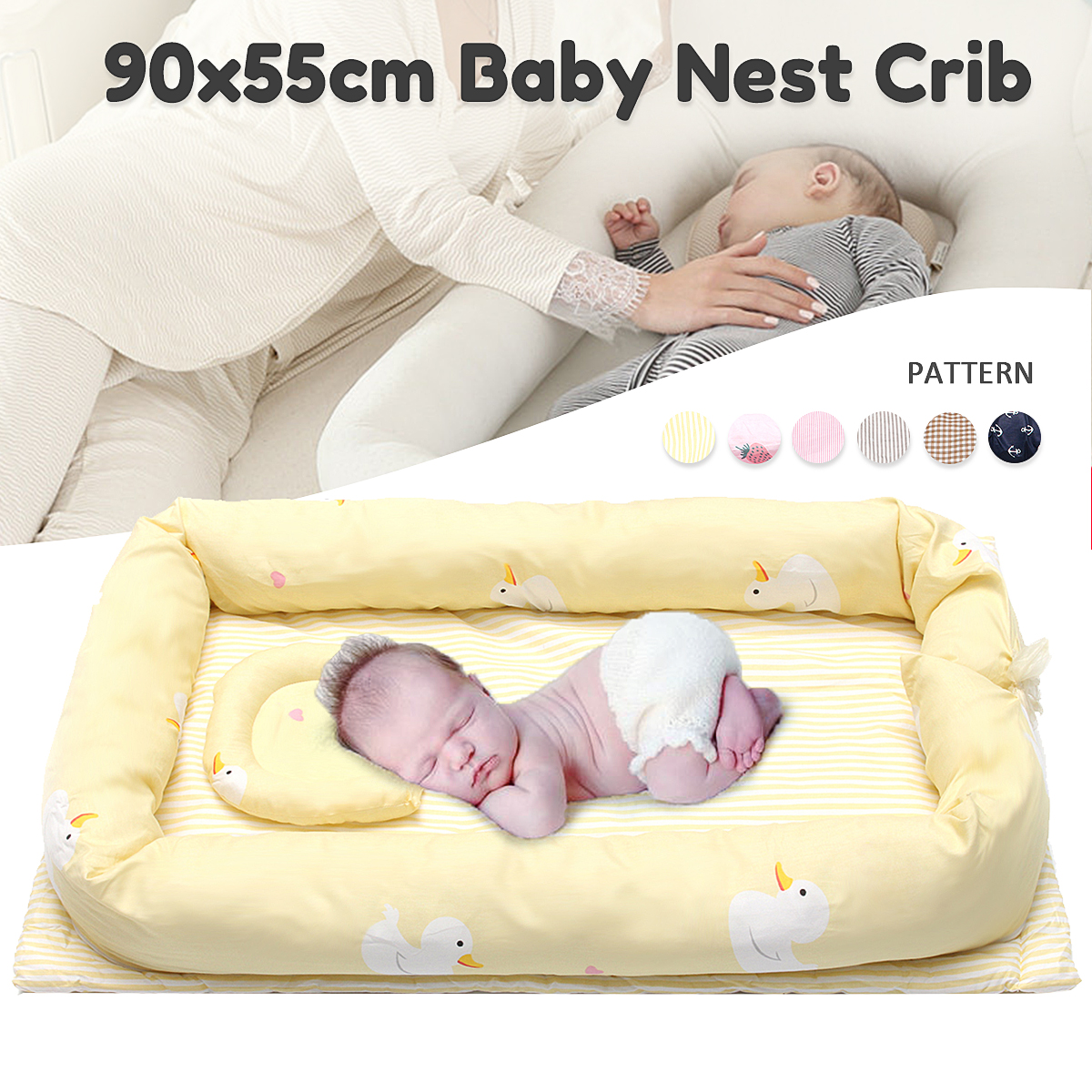 где купить Baby Infant Kids Crib Bed Portable Crib Cot Baby Nest Bed Sleeping Artifact Travel Bed Bedding Sets Bumper Cot Mattress 90x55cm дешево