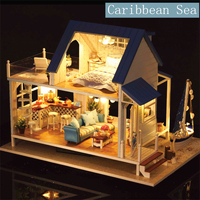 DIY Handcraft Miniature Project Kit Wooden Dolls House Music Caribbean Sea House Toy Gifts For Friends Children