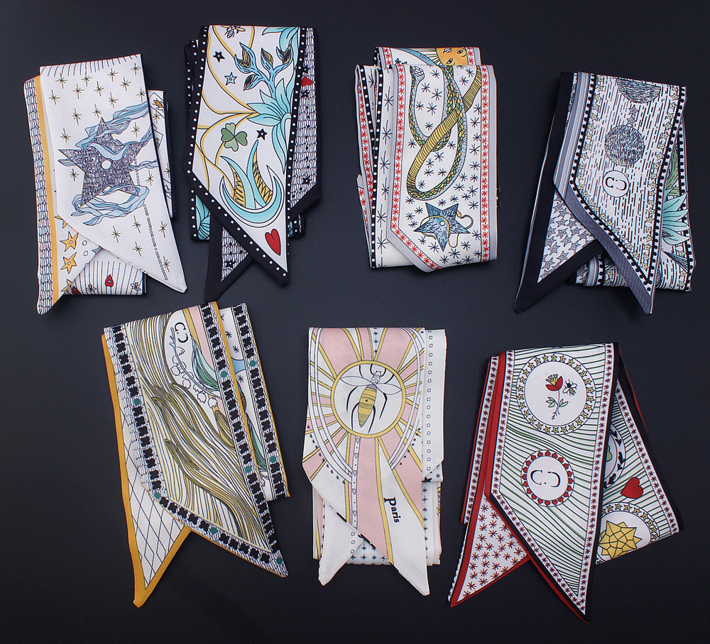Tarot Series New Design Skinny Scarf 12 Constellation Print Women Silk Scarf Small Handle Bag Ribbons Female Head Scarves amp Wraps in Women 39 s Scarves from Apparel Accessories