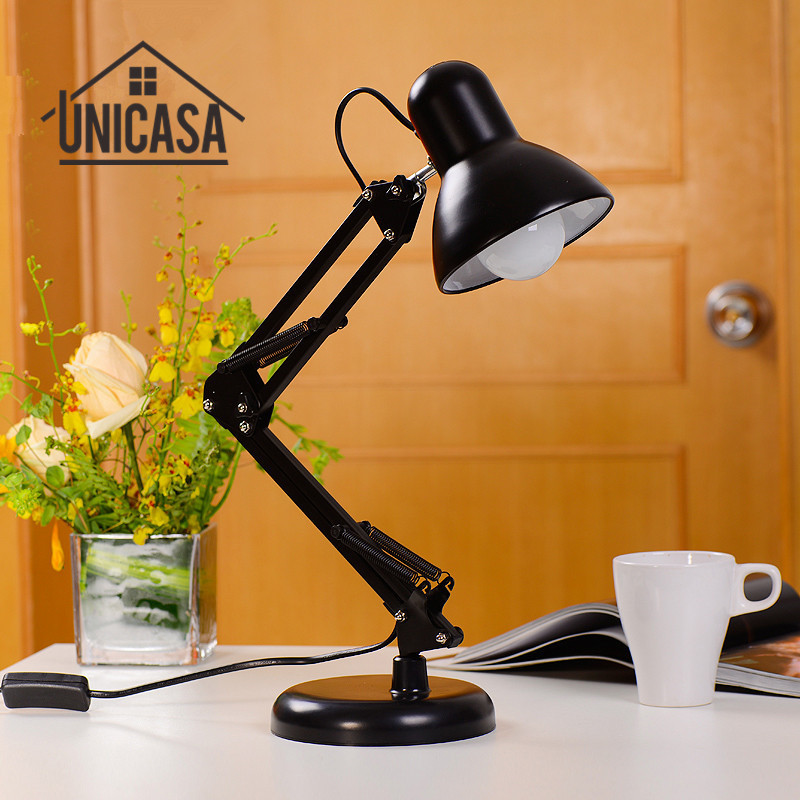 Black Desk Lamps Adjustable Clip Table Lights Bedside Desktop Table Lamp Bedroom Office Light Libraly Porch Industrial Lighting modern industrial style table lamps lights for bedroom bedside folding desk lamp clip dimmer led light clamp lampshade abajur
