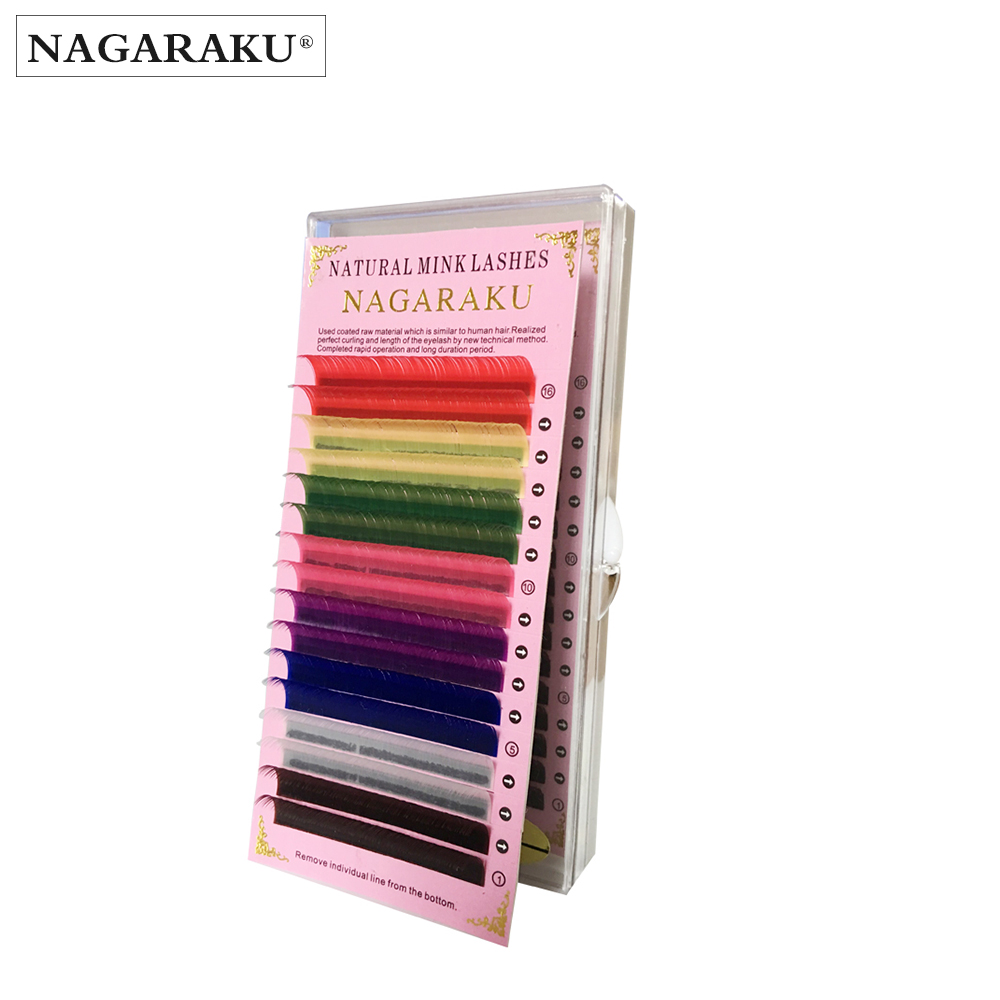 NAGARAKU 16rows/tray, 8 Colors ,Rainbow Colored Eyelash Extensions ,color Eyelashes,high Quality Mink Soft And Natural