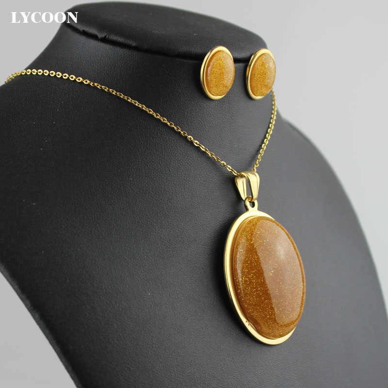 LYCOON thép không gỉ pendant mạ vàng màu đặc biệt resin đá trứng hình dạng mặt dây bông tai vòng cổ trang sức phụ kiện nữ