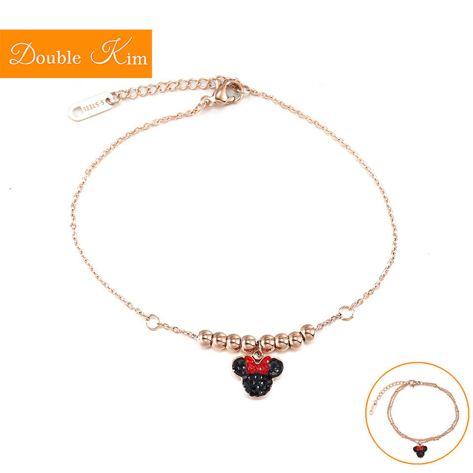 Minnie Zircon Bracelet Lovely Kawaii Style Titanium Steel Material Bracelet Inlaid Zircon Rose Gold Color Fashion Women Jewelry