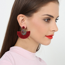 Vintage Colorful Beaded Tassel Fringe Drop Earrings For Women Charm fan-Shaped Female Earring Jewelry brincos