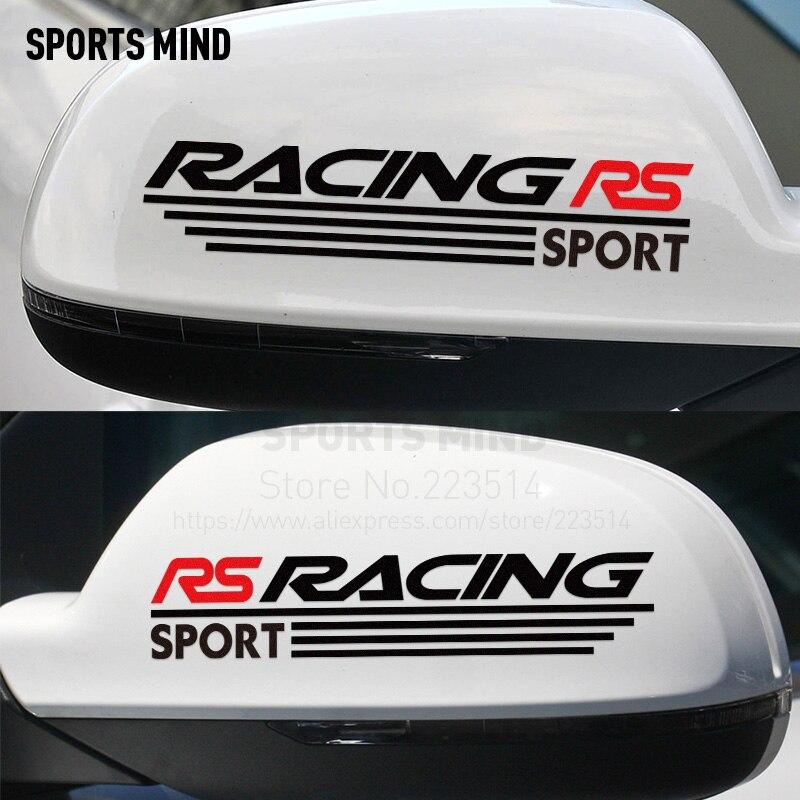 10 Pairs RS RACING Car Stickers Rearview Mirror sticker For Fiat Suzuki Peugeot skoda volvo lada kia mazda mitsubishi hyundai