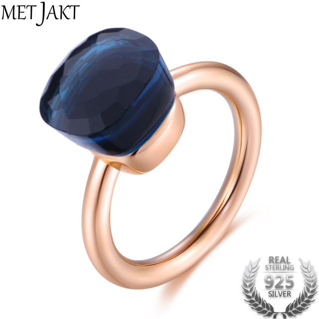 MetJakt 14K Rose Gold Color Topaz Ring 925 Sterling Silver Classic Rings with Na