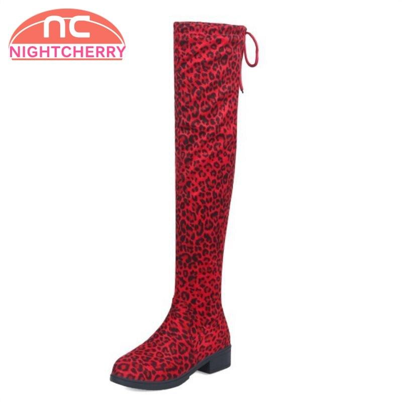 06e0595cfa3 De Nightcherry marrón Calzado Talón rojo Zapatos Mujer Botas Altas red 34  Negro Leopard 5 Tamaño ...