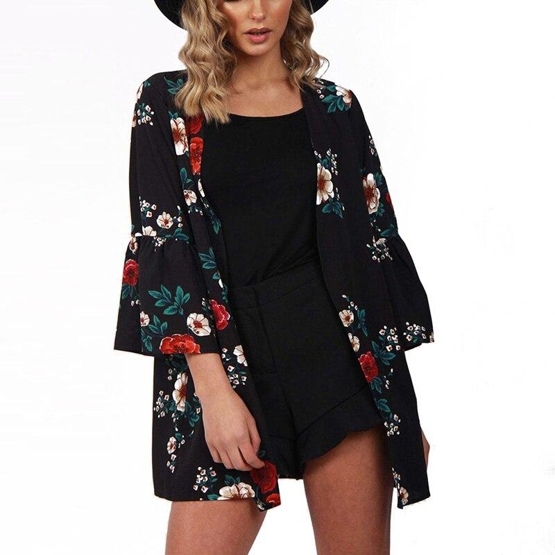 Women   Jacket   2018 Spring Autumn Women Flower Print   Basic     Jacket   Long Sleeve Pockets Slim Short Cardigan Coat Casual Outwear T8
