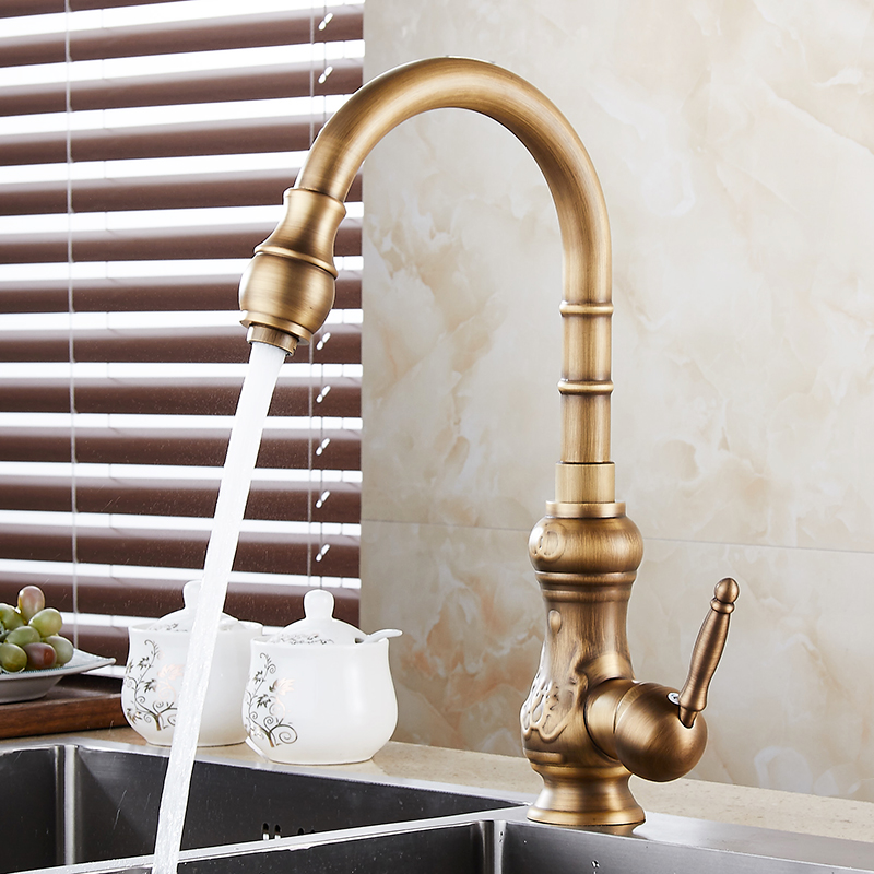 Kitchen Faucets Antique Brass Bronze Finish Water Taps Kitchen Swivel Spout Vanity Sink Mixer Classic Tap Single Handle 1221FKitchen Faucets Antique Brass Bronze Finish Water Taps Kitchen Swivel Spout Vanity Sink Mixer Classic Tap Single Handle 1221F