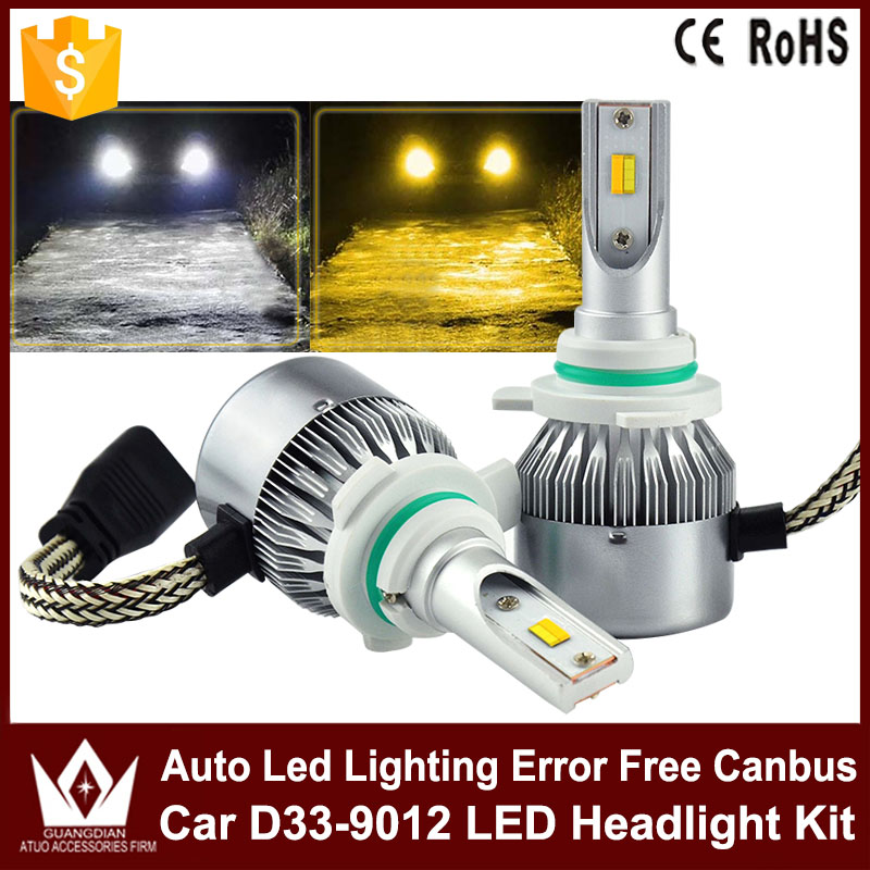 High Power Car LED Headlight Kit D33 9012 36W Auto Led Headlamp Free Canbus White With Yellow Fog Light For VW Volkswagen Caddy 12v led light auto headlamp h1 h3 h7 9005 9004 9007 h4 h15 car led headlight bulb 30w high single dual beam white light