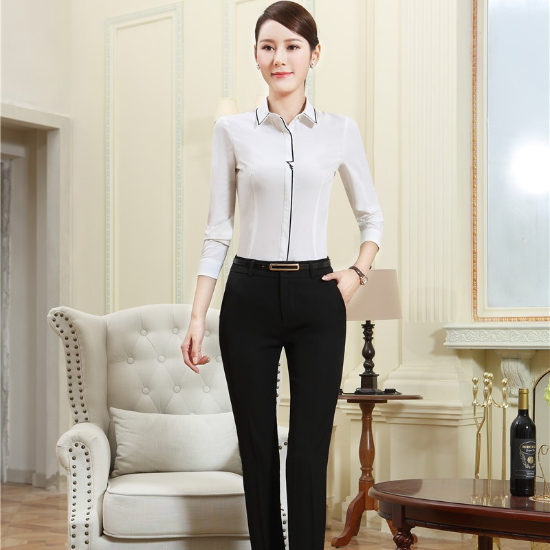 Novelty White Autumn Winter Formal OL Styles Pantsuits With 2 Piece Blouses And Pants For Women Pants Suits Female Trousers Sets