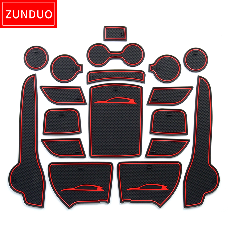ZUNDUO Gate slot pad For KIA SPORTAGE QL 2016 2018 Interior Door Pad Cup Non slip mats red white black