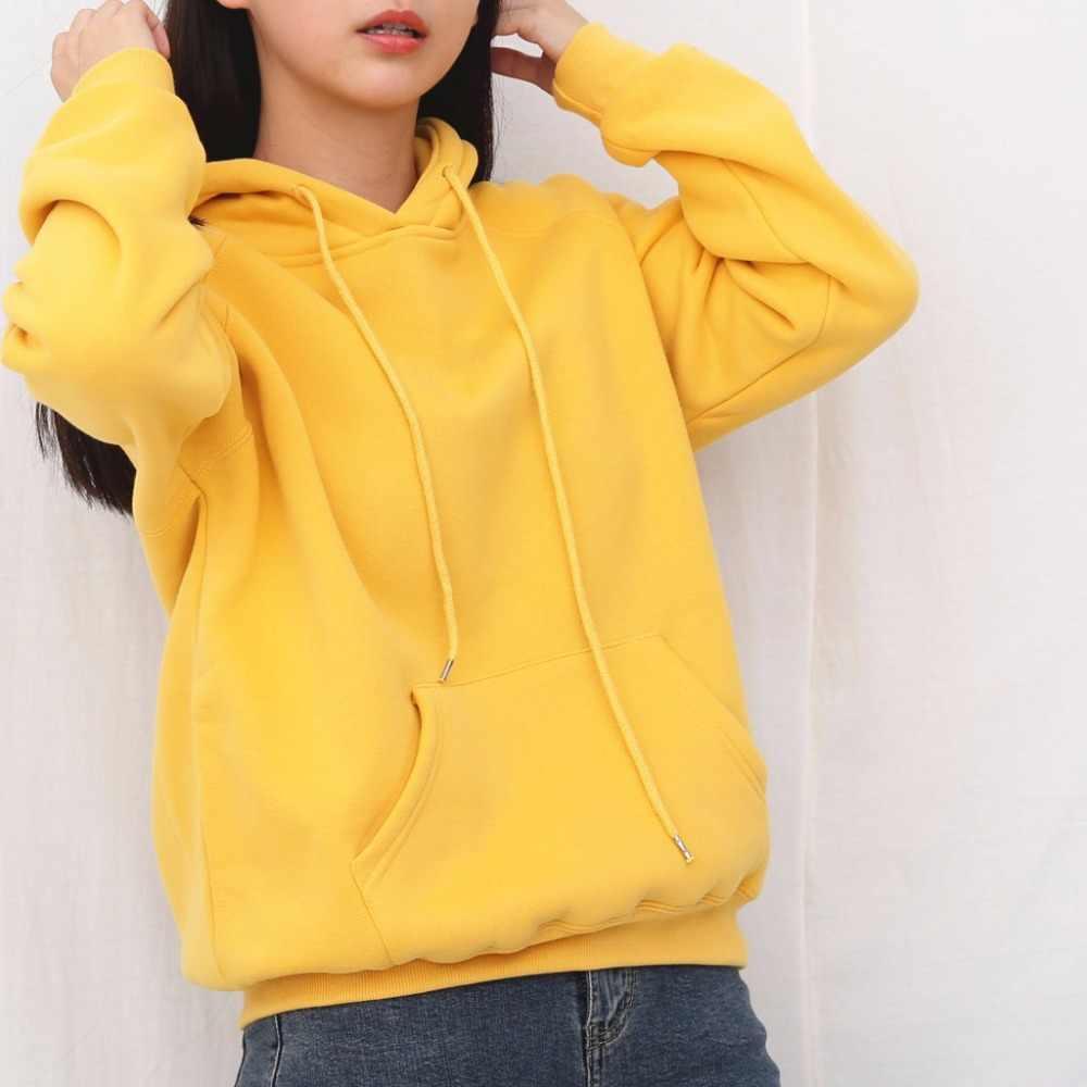 Surmiitro quente com capuz camisola feminina inverno 2019 outono sólido kpop hoodies polerones senhoras pulôver suor femme