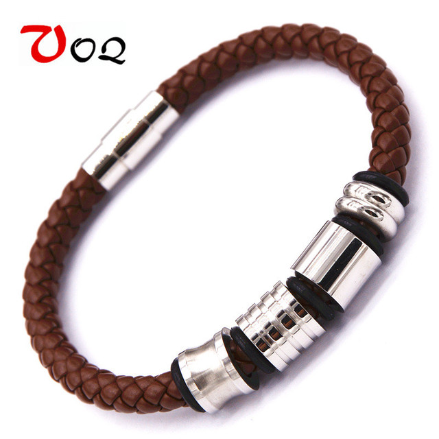 Mens Bracelets 2017 Stainless Steel Genuine Leather Friendship For Women Magnetic Bracelet Jewelry