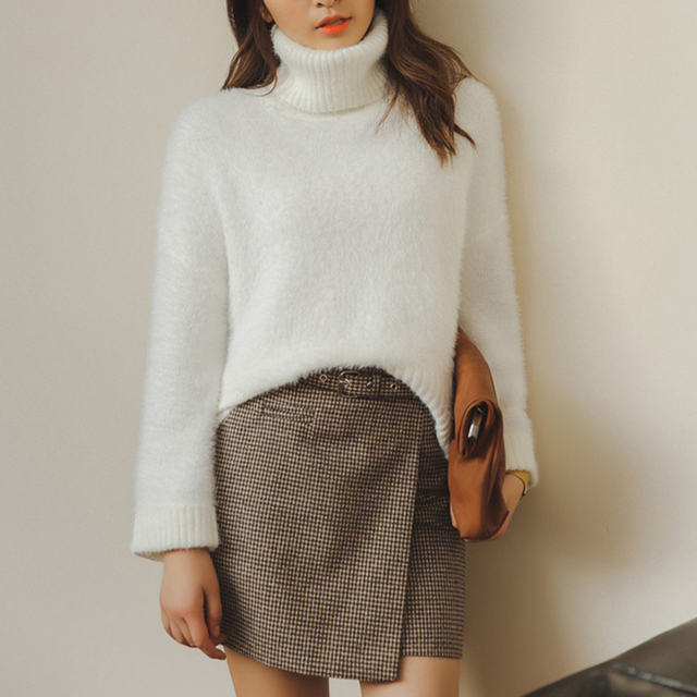 680c6eaae111 2019 Female Loose Cashmere Knit Sweater Big Sleeves Turtleneck Crop Top  Pullover Women Winter Thicken Warm Knitwear Wool Sweater