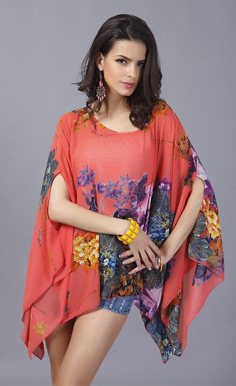 Boho top kupaći rukav Plus size šifon bluze žene cvjetni ispisane - Ženska odjeća - Foto 4