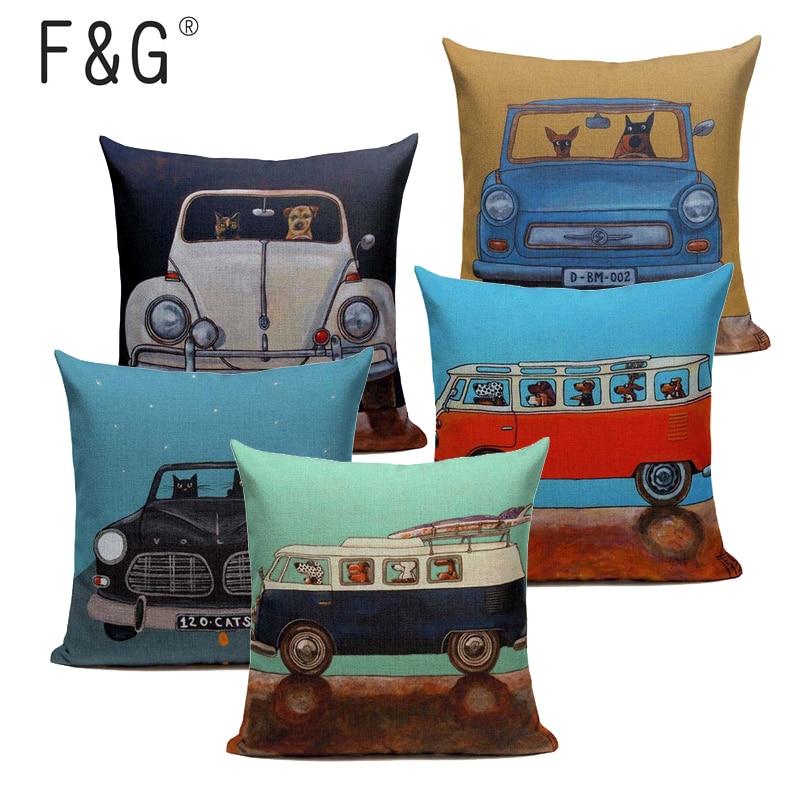 hot-sale-pillow-lovely-cartoon-dog-cat-color-driving-car-vintage-almofadas-45x45cm-linen-pillow-decorative-linen-cushion-cover