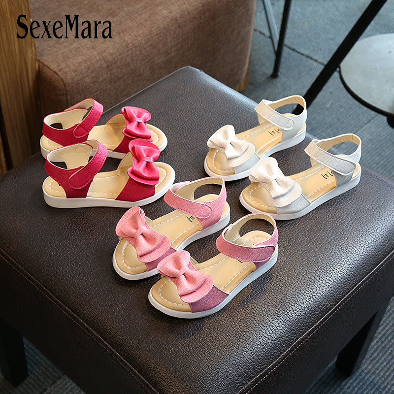 2018 New Season Summer Big Bow-tie Children Shoes Girls Sandals Baby Korean Party Princess Shoes Solid For 2-12 Hot Sale A06063