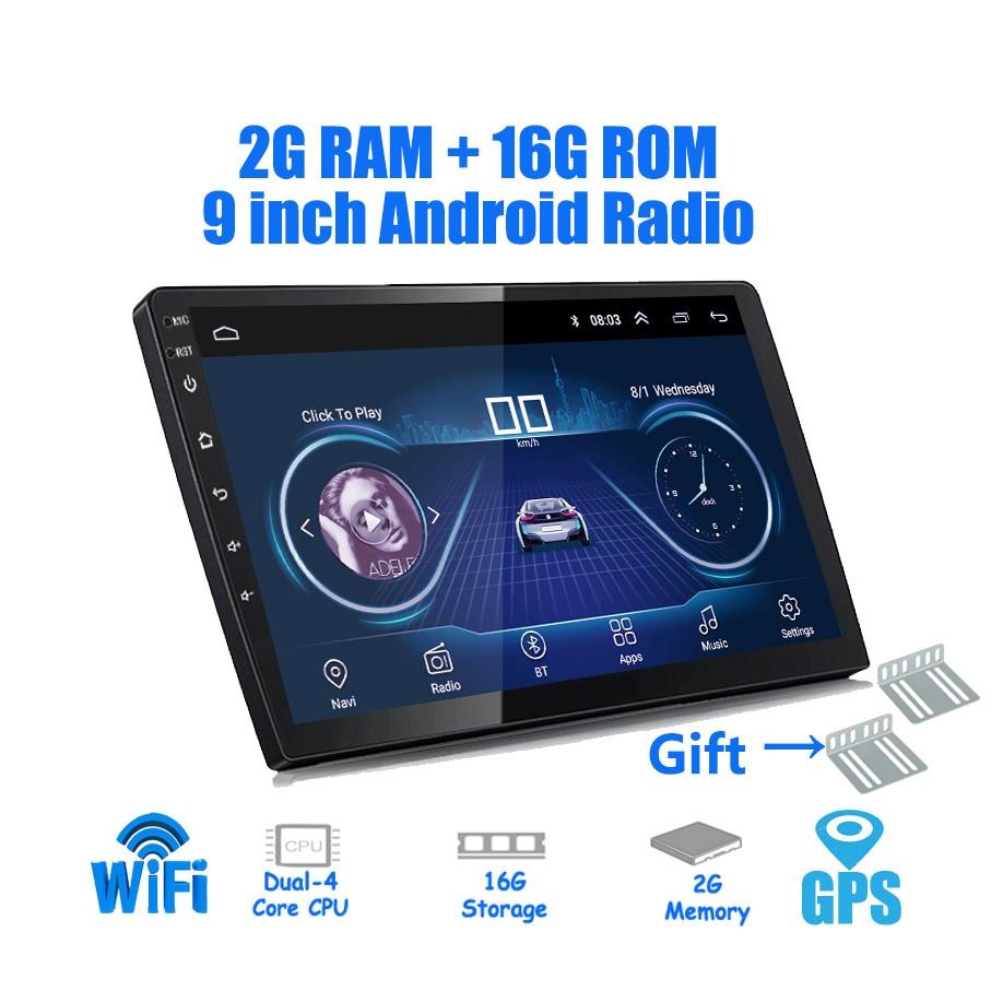 9/10 pulgadas universal del jugador del coche de Android 8,1 2 din 2G RAM + 16G ROM android Car radio GPS navegación WIFI Bluetooth MP5 cámara trasera