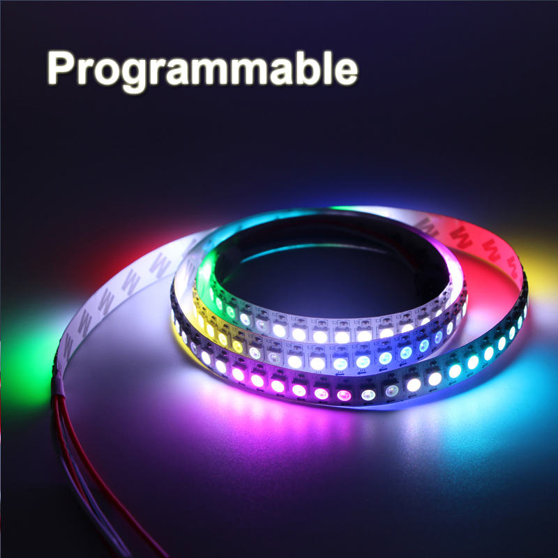 цена на 30/60/144 Pixels Programmable Individual Addressable LED Strip Light WS2812B WS2812 Built-in 5050 RGB LED tape lamp DC5V color