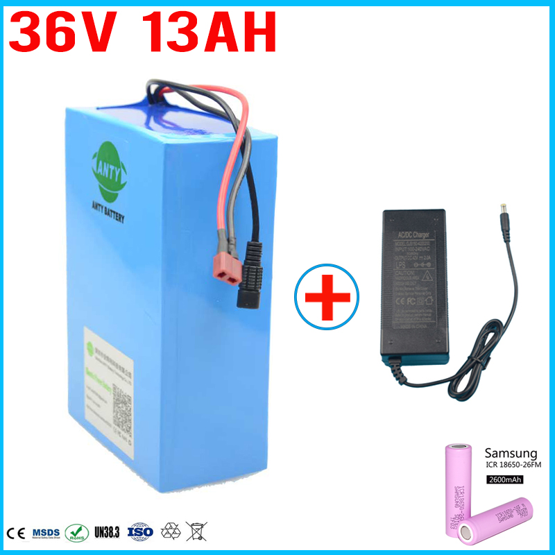 36 Volt 500W Lithium ion Battery 36V 13Ah Electric Bike Battery For Samsung 2600 cell Built in 15A BMS 2A Charger Free Shipping free customs taxes super power 1000w 48v li ion battery pack with 30a bms 48v 15ah lithium battery pack for panasonic cell