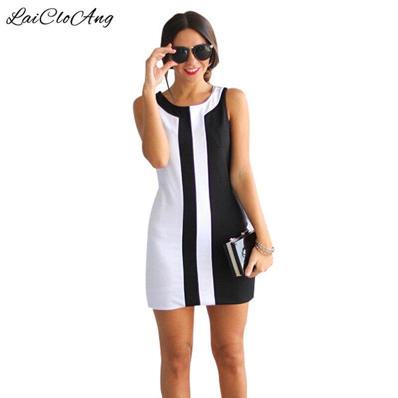 Buy Cheap Plus Size 3XL Sleeveless A-Line Dress Women 2017 New O-Neck Patchwork Short Mini Dress Vestidos Beach Casual Summer Dress Women