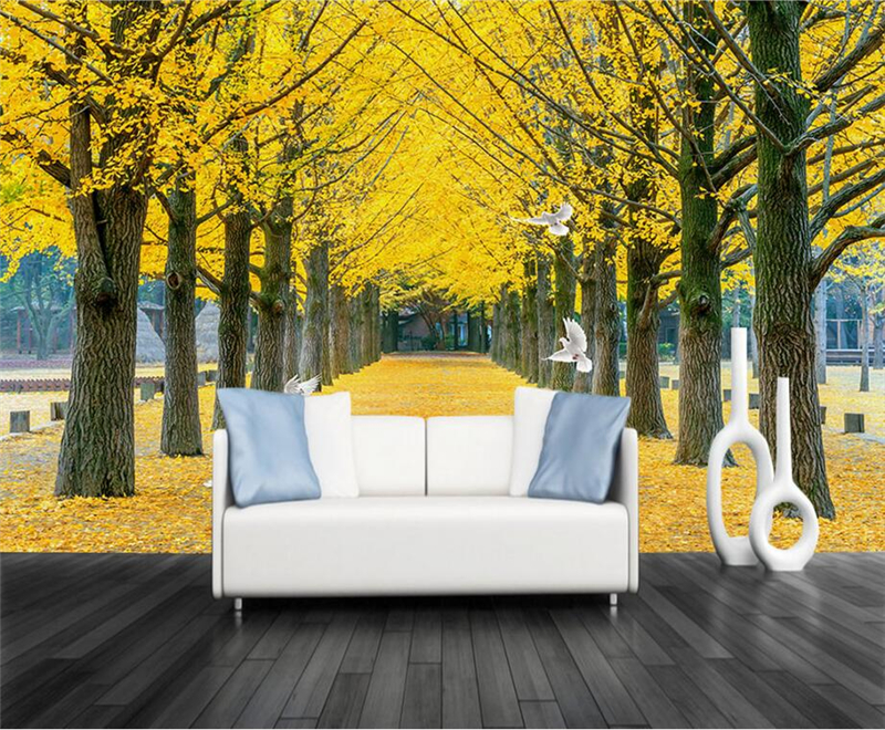 Gold Wallpaper Aisle Trees Trail Wallpapers For Walls Modern 3d