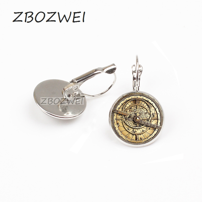 ZBOZWEI Steampunk Gravity Falls Mysteries BILL CIPHER WHEEL earring doctor who Glass mens astrolabe women best friends earring