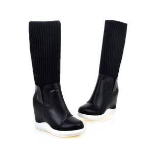 Image 5 - MORAZORA 2020 new style round toe mid calf boots women slip on Stretch boots comfortable wedges shoes woman autumn winter boots