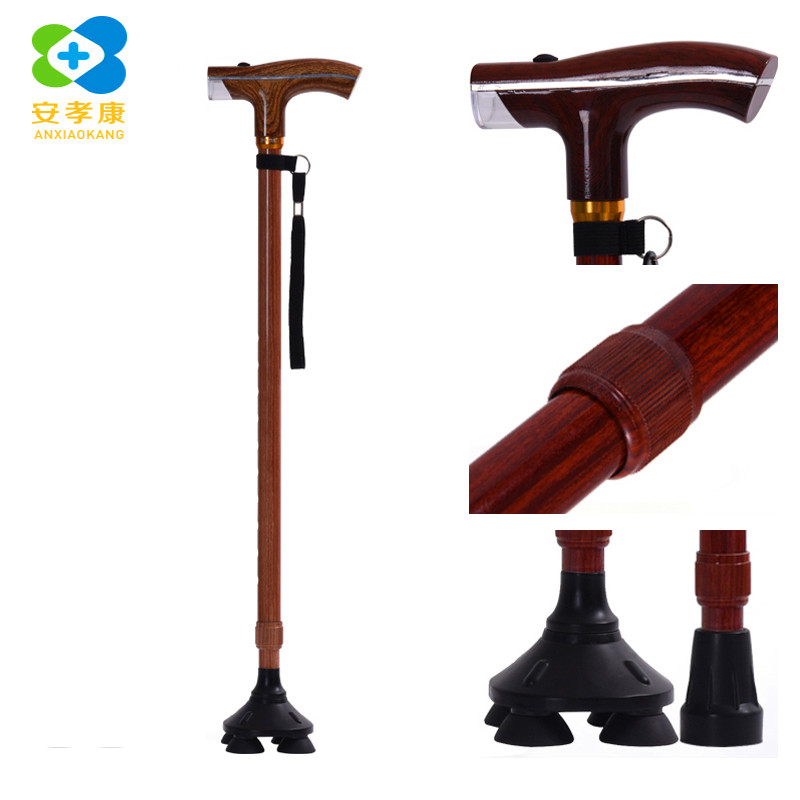 Camping & Hiking Walking Sticks Audacious Anxiaokang Safe Reliable Old Man Crutches High-grade Light Wood Grain T Walking Stick Four-legged Cane Non-slip Elderly Supplies