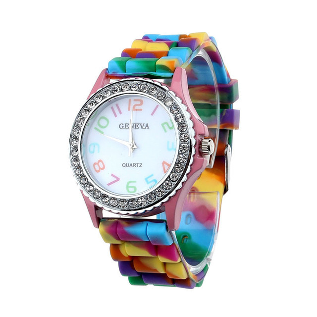 Best Selling Fashion Creative Women Geneva Silicone Crystal Bling Analog Hour Qu
