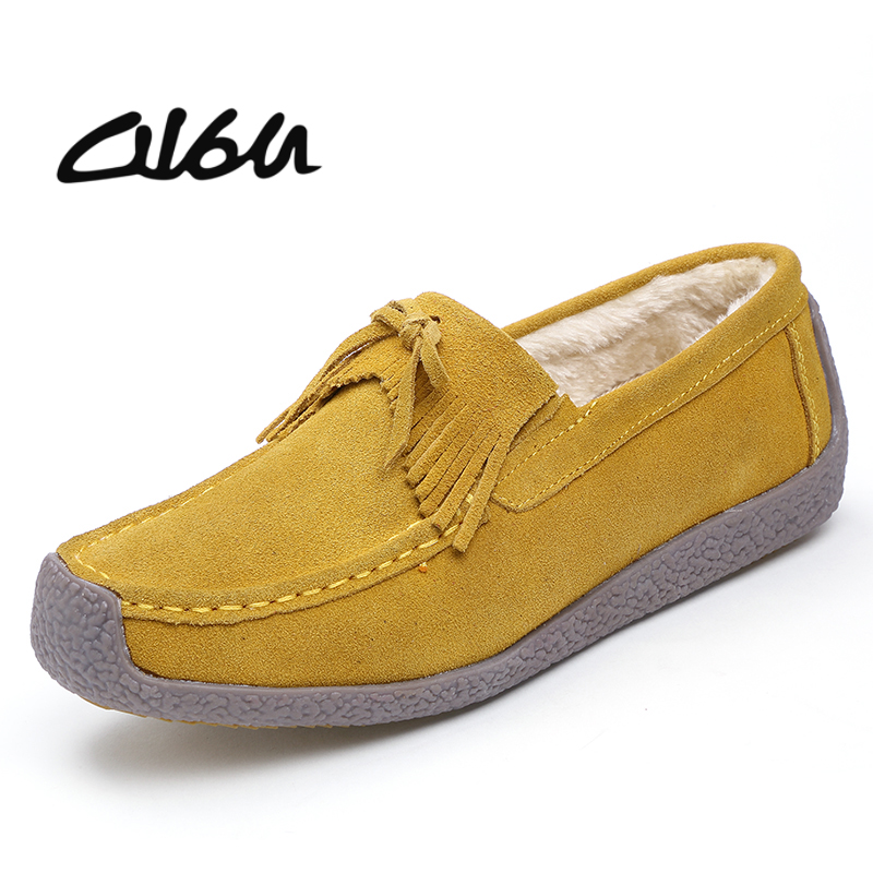 O16U Women Boat Shoes   Suede     Leather   Slip on Square Toe Ladies Casual Flats Tassel Knot Breathable Shoes For Women Summer New