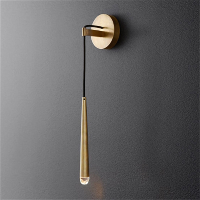 Nordic Minimalist Gold Mteal Led Wall Lamp Creative Parlor Bedroom Bedside Retro Brass Hotel Cafe Clothes Shop Aisle Wall Light