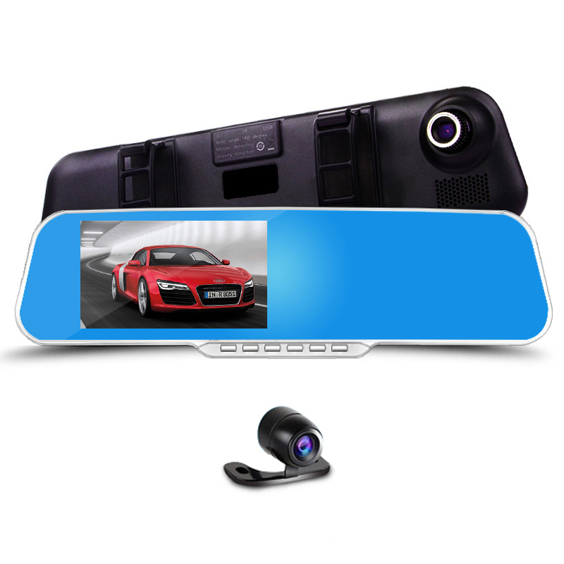 ФОТО Excellent! Novatek Car Blue Rearview Mirror Camera Dvr Full HD Digital Video Recorder With Two Cameras Auto Dash Cam Black Box