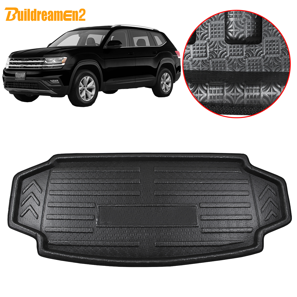 Buildreamen2 Car Boot Cargo Liner Tray For Volkswagen Atlas Teramont Rear Trunk Pad Tray Floor Mat Carpet Mud Kick 2017 2018