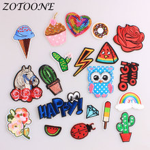 ZOTOONE Animal Horse Owl Iron on Patches for Clothing Decoration Letter Flower Sequin Clothes Custom Patch E