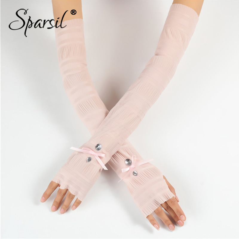 Sparsil Ladies Lace Gloves Sunscreen Bow Drill Puff Driving Outside Long Section Of Thin Glove Thumb Hole Summer Mitten For Girl