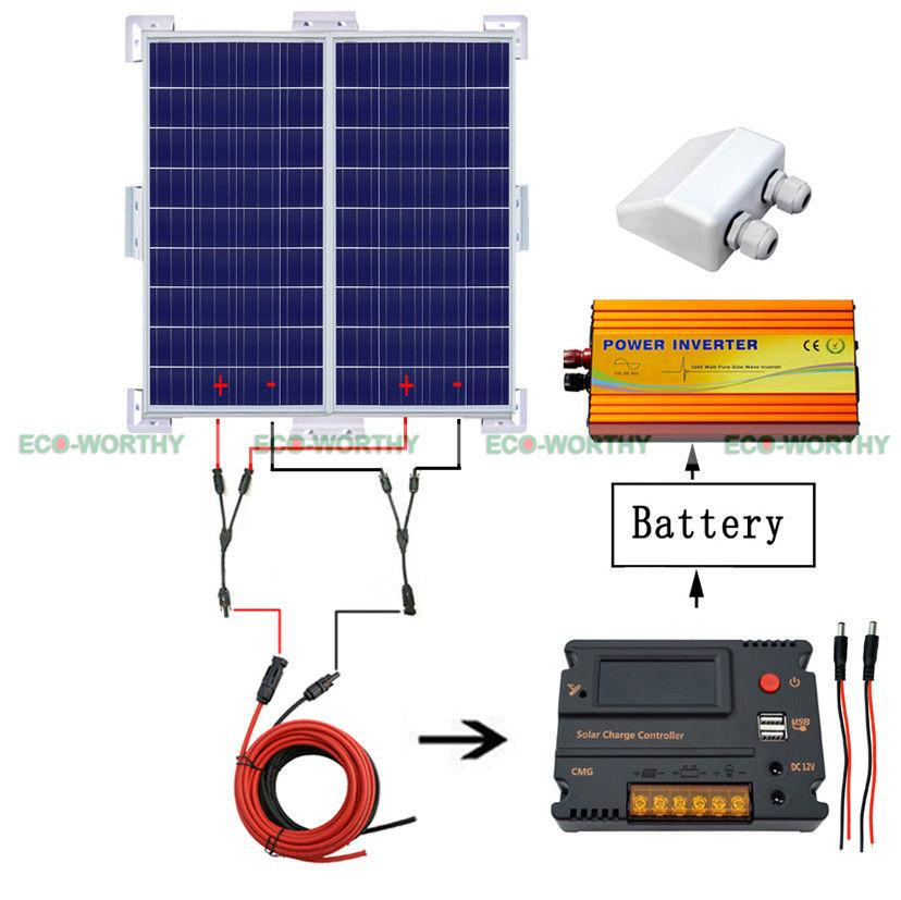 200W 12V RV System Kit 2x 100W Solar Panel & 1KW Power Inverter Bracket