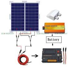 200W 12V RV System Kit 2x 100W Solar Panel 1KW Power Inverter Bracket