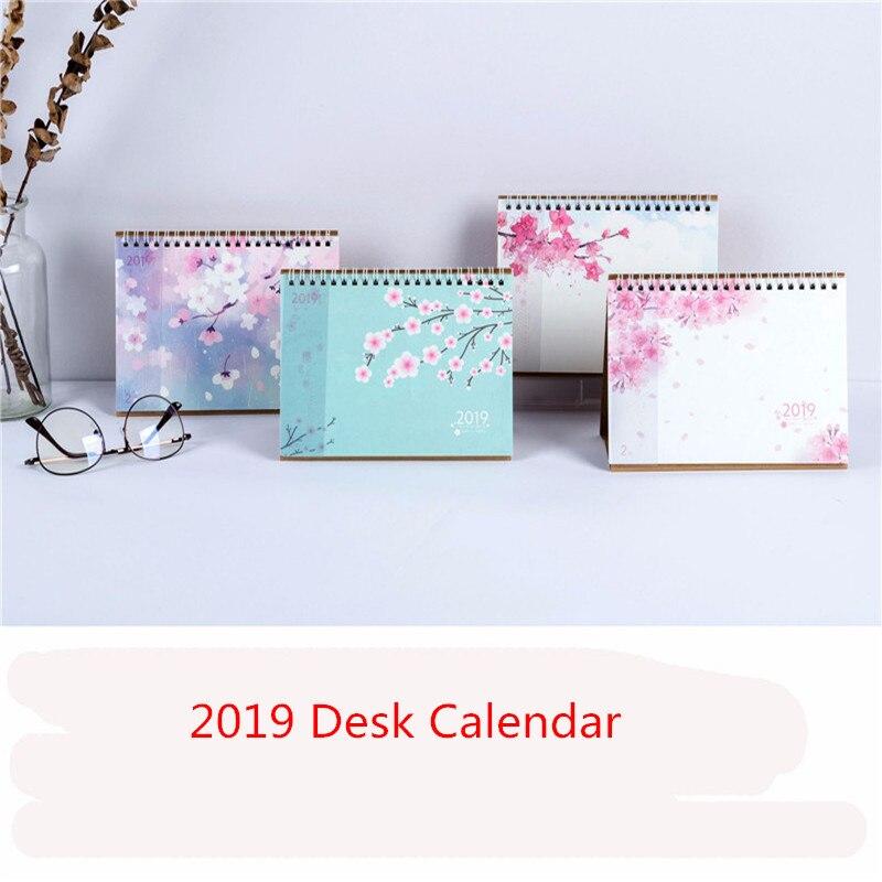 Beautiful 2019 Cute Cherry Blossoms Desk Calendar Diy Mini Portable Table Calendars Daily Schedule Planner 2018.09~2019.12 Calendars, Planners & Cards
