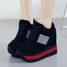 2020 nouvelle fraîcheur plate forme femmes chaussures PU vulcanisé chaussures hauteur augmentant pompes femme baskets compensées talons hauts chaussures W309