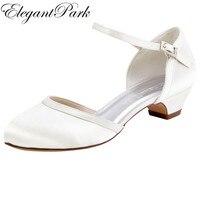 Giày phụ nữ Wedding Bridal Thấp Chuck Heels Trắng Ngà Closed Toe HC1621 Satin Khóa Bride Lady Prom Đảng Evening Bơm
