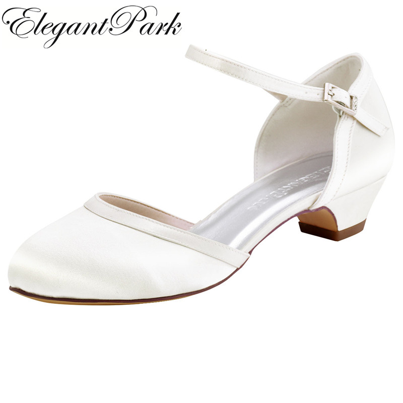 Woman Shoes Wedding Bridal Low Chuck Heels White Ivory Closed Toe HC1621 Buckle Satin Bride Lady Prom Party Evening Pumps