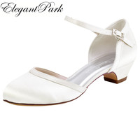 Women Shoes Wedding Bridal Low Chuck Heels White Ivory Closed Toe HC1621 Buckle Satin Bride Ladies Prom Party Evening Pumps