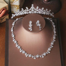 Women Jewelry Set Bridal Hair Accessories Necklace Tiaras Earrings 2018 Diamond Rhinestone Wedding Crowns Headpieces For Bride(China)